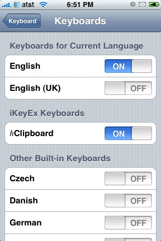 Enabling hClipboard from the International Keyboards Menu