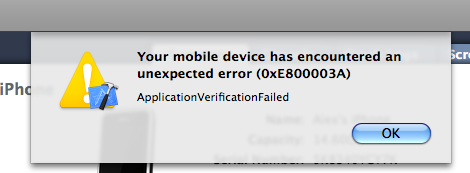 ApplicationVerificationFailed
