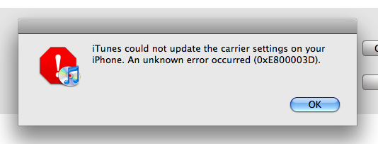 iTunes could not update the carrier settings on your iPhone. An unknown error ocurred (0xE800003D).