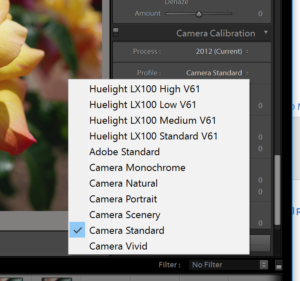 Camera Calibration Profiles menu in Adobe Lightroom