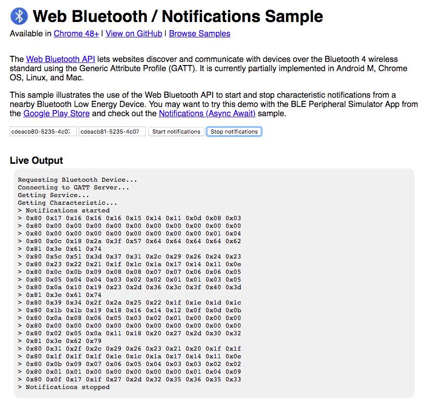 Web Bluetooth notifications sample readout